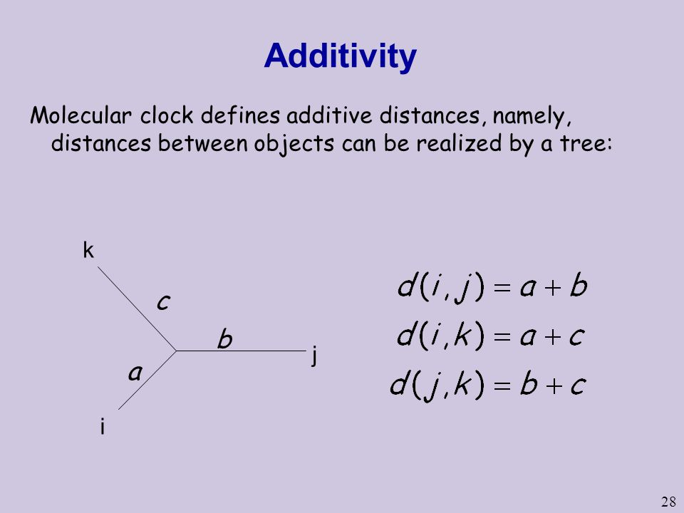 Additivity Molecular clock defines additive distances, namely, distances between objects can be realized by a tree: