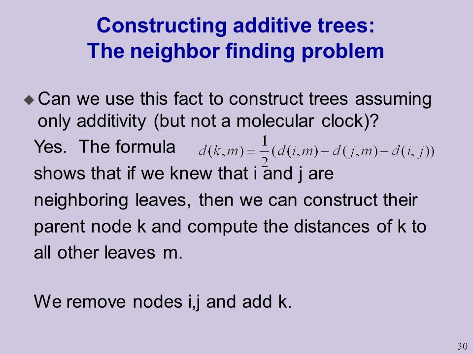 Constructing additive trees: The neighbor finding problem