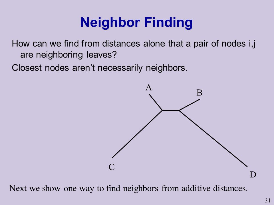 Neighbor Finding How can we find from distances alone that a pair of nodes i,j are neighboring leaves