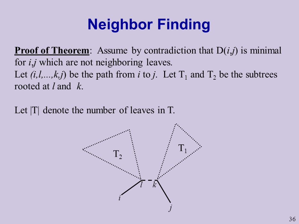 Neighbor Finding Proof of Theorem: Assume by contradiction that D(i,j) is minimal for i,j which are not neighboring leaves.