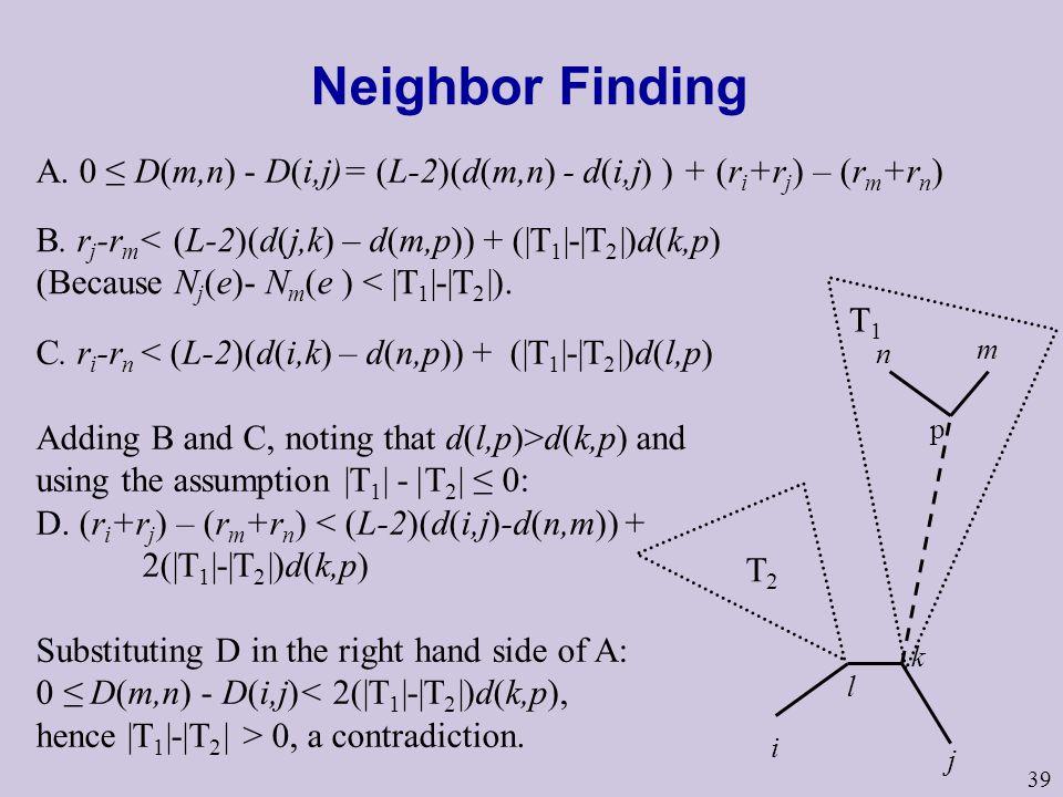 Neighbor Finding A. 0 ≤ D(m,n) - D(i,j)= (L-2)(d(m,n) - d(i,j) ) + (ri+rj) – (rm+rn) B. rj-rm< (L-2)(d(j,k) – d(m,p)) + (|T1|-|T2|)d(k,p)