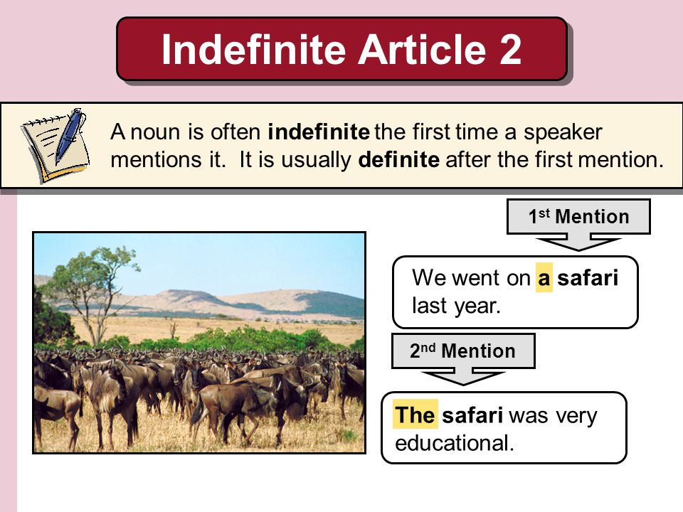 Indefinite Article 2 A noun is often indefinite the first time a speaker mentions it. It is usually definite after the first mention.