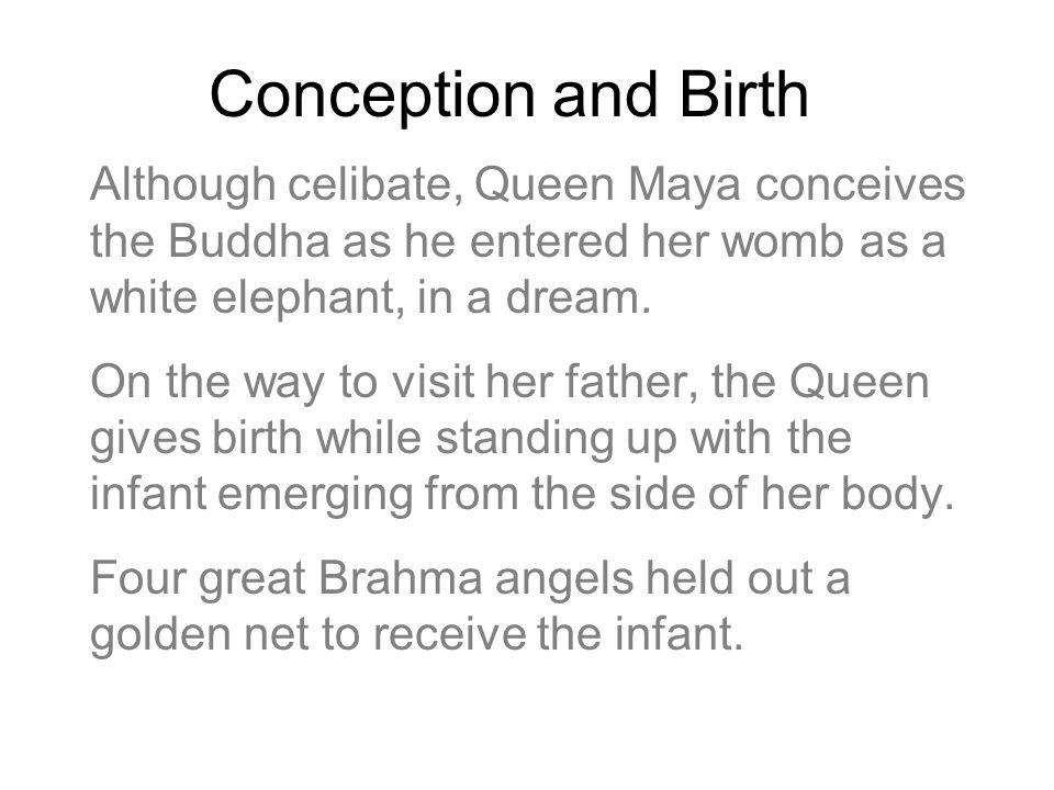 Conception and Birth Although celibate, Queen Maya conceives the Buddha as he entered her womb as a white elephant, in a dream.