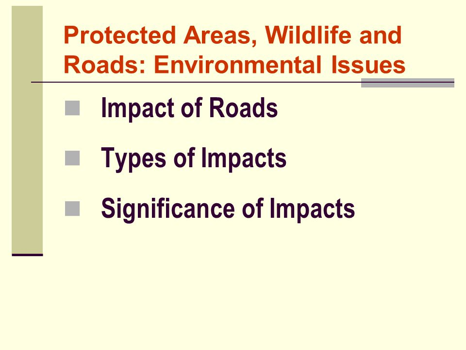 Protected Areas, Wildlife and Roads: Environmental Issues