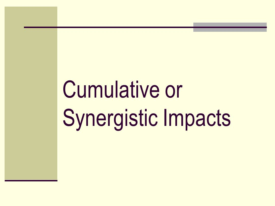 Cumulative or Synergistic Impacts