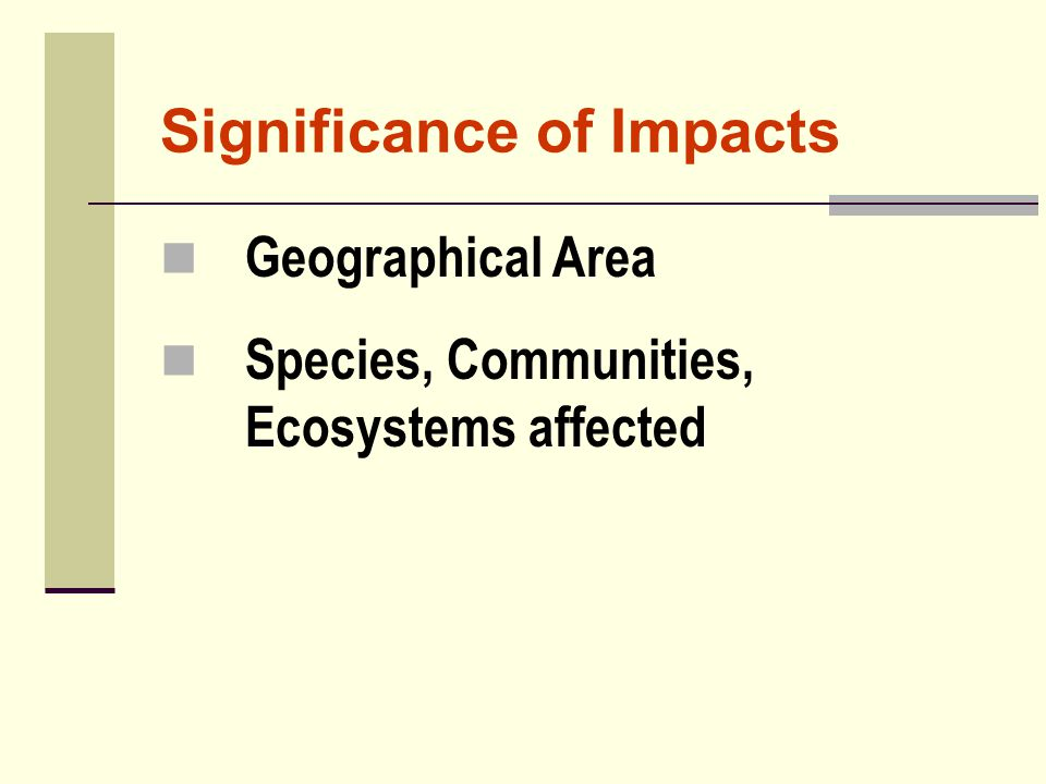 Significance of Impacts