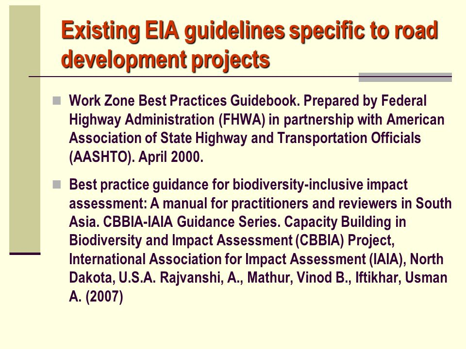 Existing EIA guidelines specific to road development projects