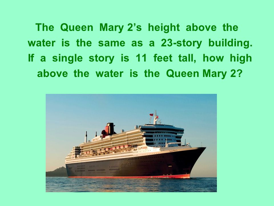 The Queen Mary 2's height above the