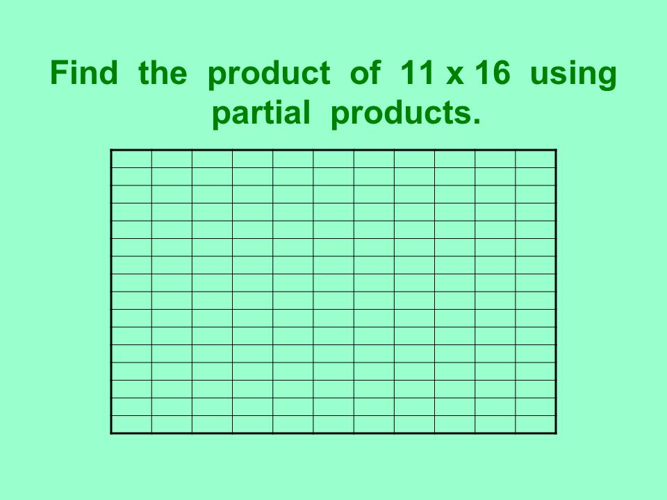 Find the product of 11 x 16 using partial products.