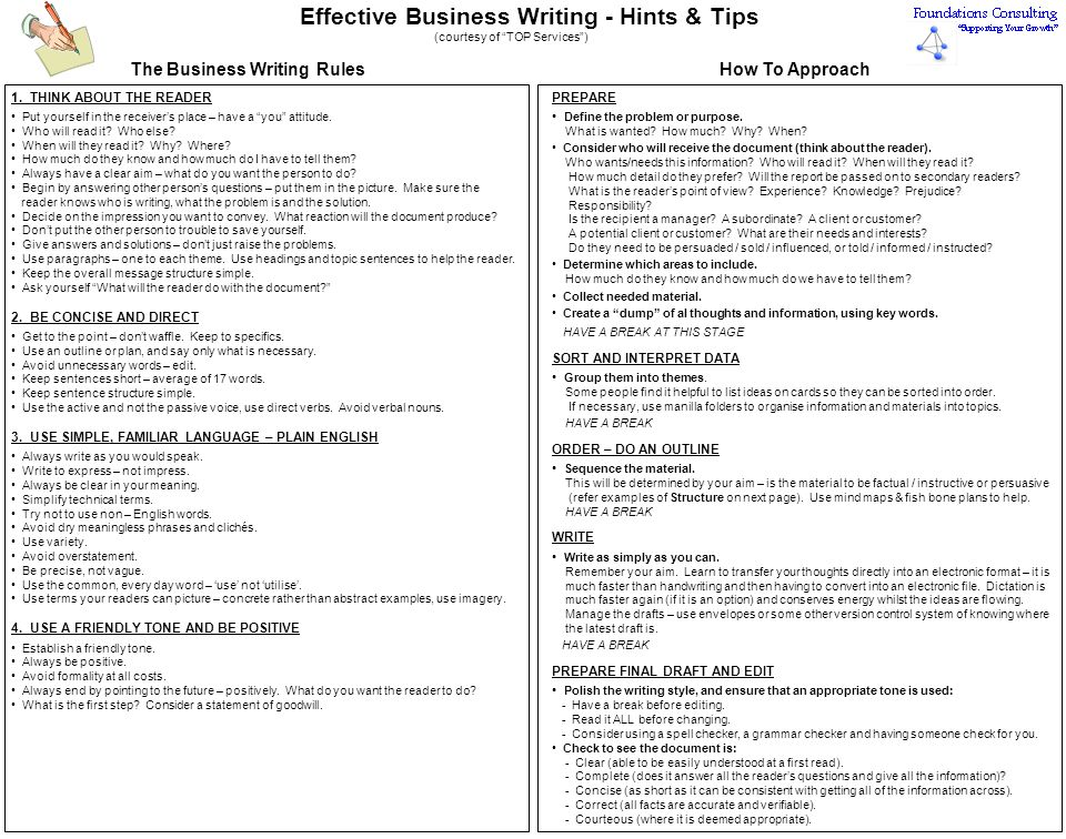 Effective Business Writing - Hints & Tips