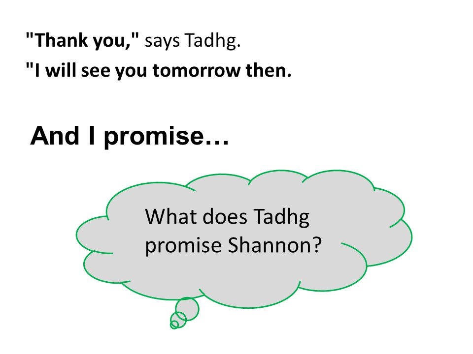 What does Tadhg promise Shannon