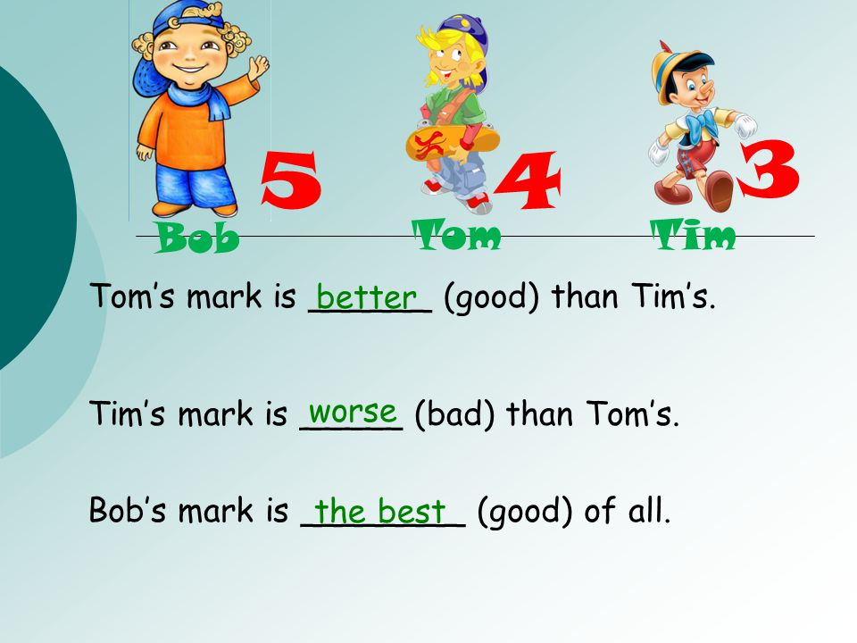3 5 4 Bob Tom Tim Tom's mark is ______ (good) than Tim's. better worse