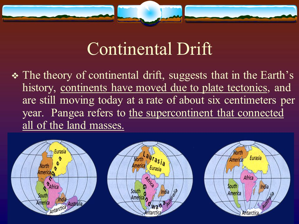 continental drift theory and s effects evolution Evolution, climate change, plate tectonics, and string theory  much as sea-floor spreading resolved a key scientific controversy about continental drift as.