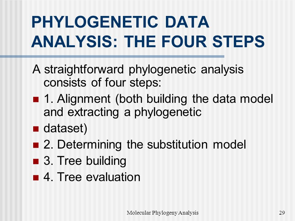 PHYLOGENETIC DATA ANALYSIS: THE FOUR STEPS