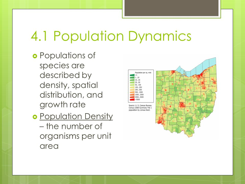 4.1 Population Dynamics Populations of species are described by density, spatial distribution, and growth rate.