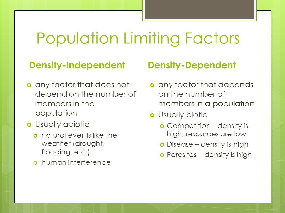 Population Limiting Factors
