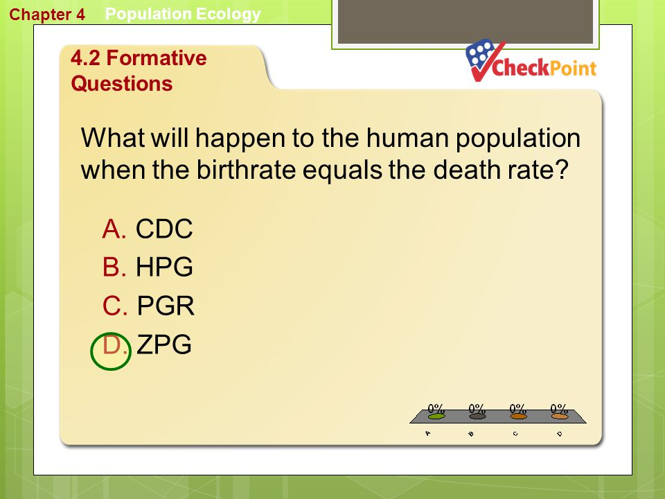 Chapter 4 Population Ecology. 4.2 Formative Questions. What will happen to the human population when the birthrate equals the death rate