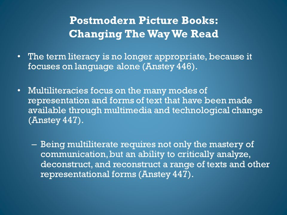Postmodern Picture Books: Changing The Way We Read