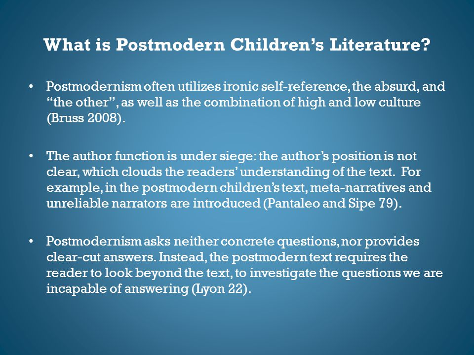 What is Postmodern Children's Literature