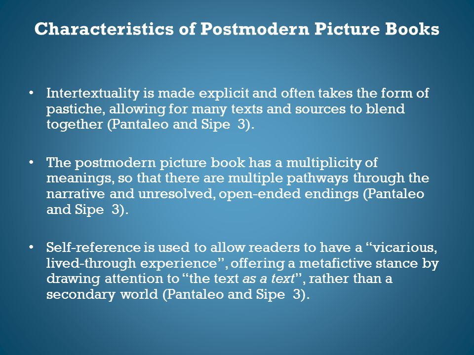 Characteristics of Postmodern Picture Books