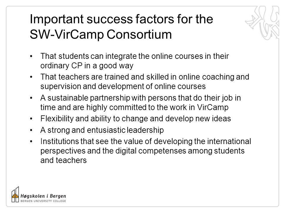 Important success factors for the SW-VirCamp Consortium