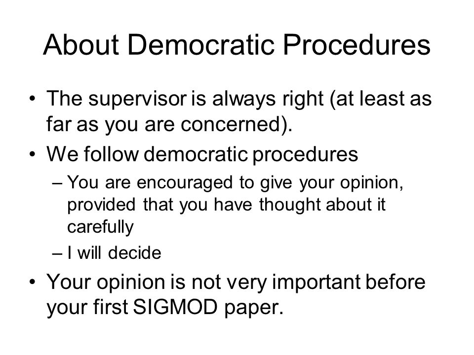 About Democratic Procedures