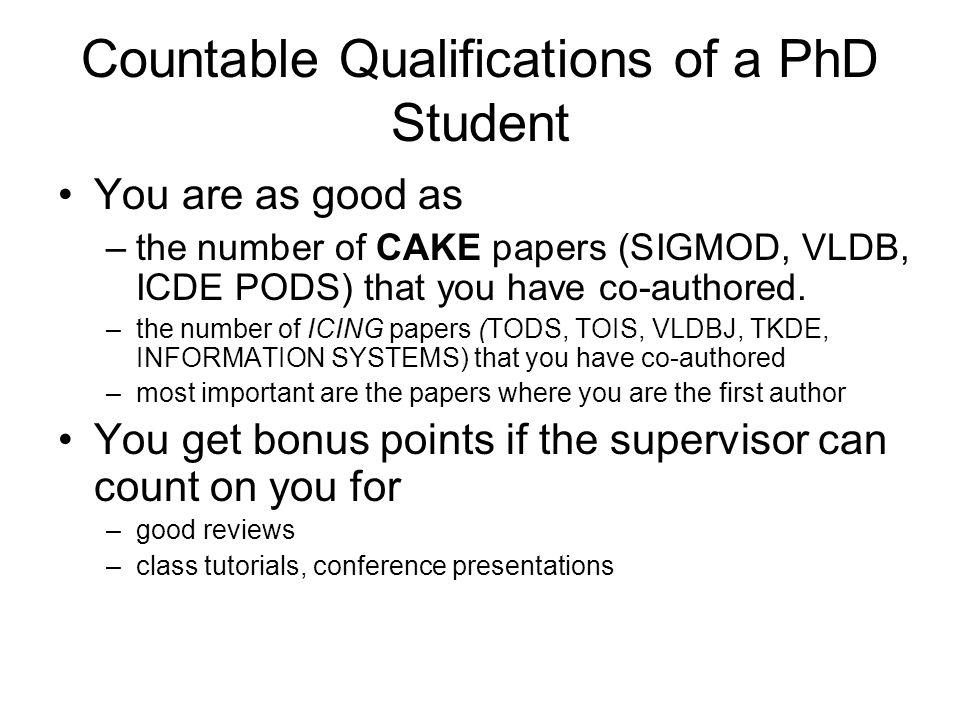 Countable Qualifications of a PhD Student