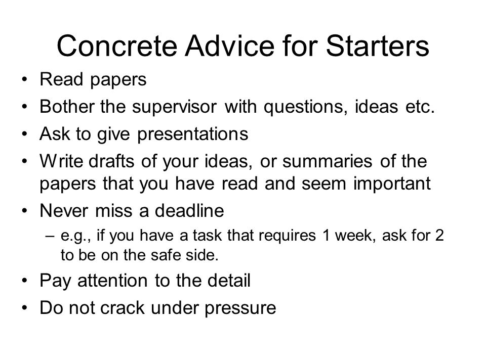 Instructions for phd students ppt download for Concrete advice