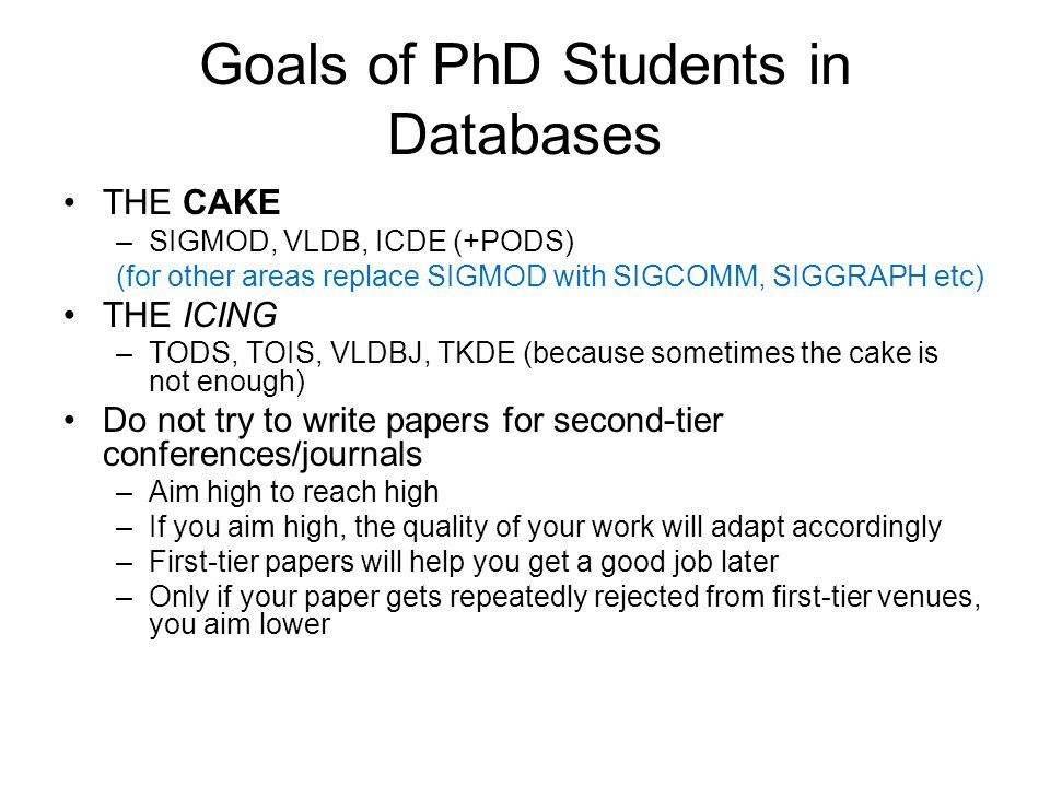 Goals of PhD Students in Databases