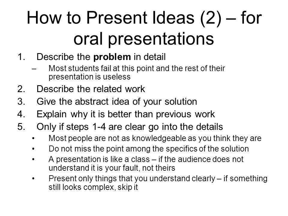 How to Present Ideas (2) – for oral presentations