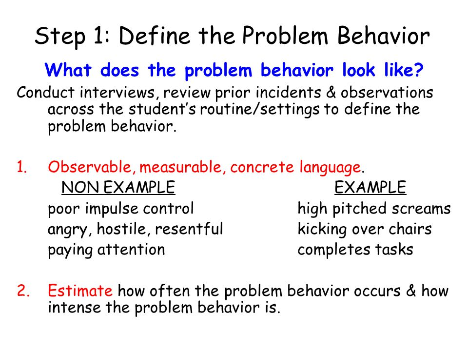 Step 1: Define the Problem Behavior