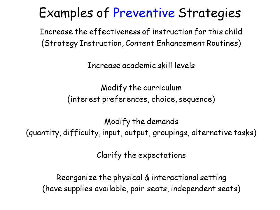 Examples of Preventive Strategies