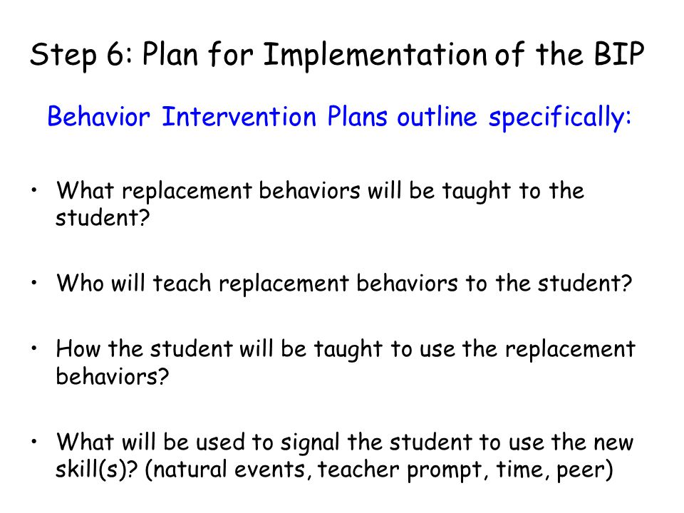 Step 6: Plan for Implementation of the BIP