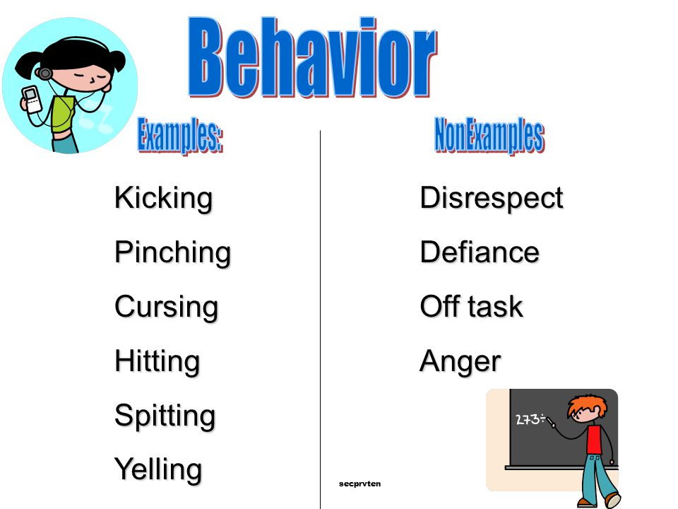 Behavior Kicking Pinching Cursing Hitting Spitting Yelling Disrespect