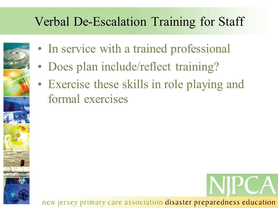 Verbal De-Escalation Training for Staff