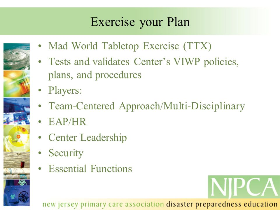 Exercise your Plan Mad World Tabletop Exercise (TTX)