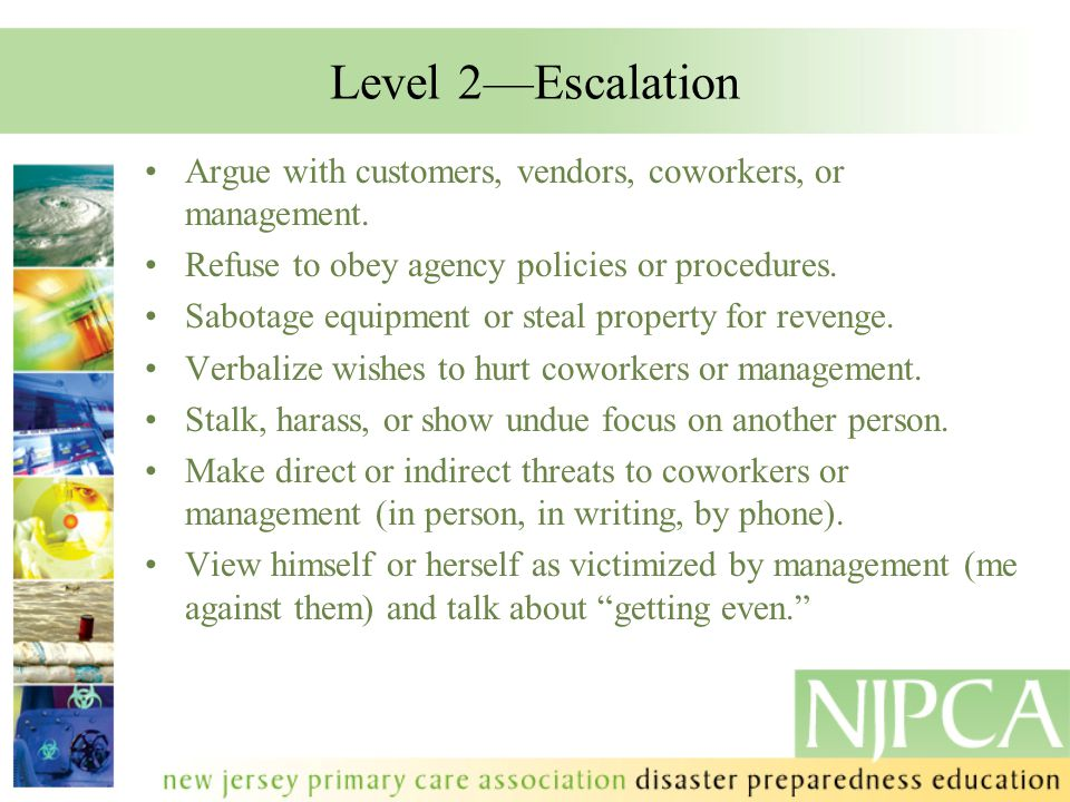 Level 2—Escalation Argue with customers, vendors, coworkers, or management. Refuse to obey agency policies or procedures.