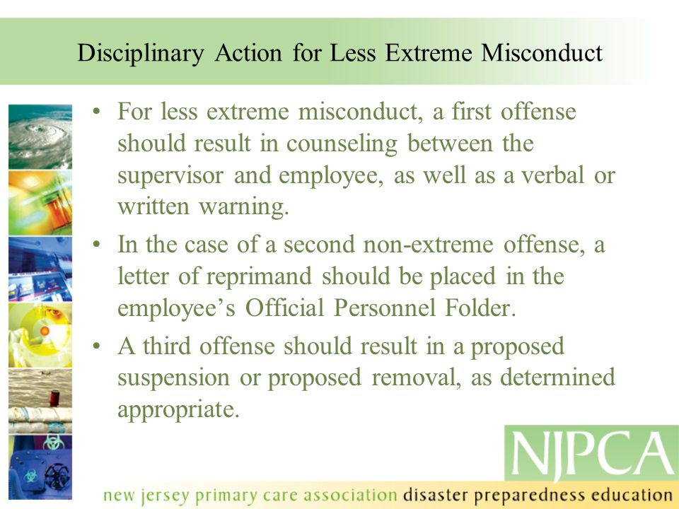 Disciplinary Action for Less Extreme Misconduct