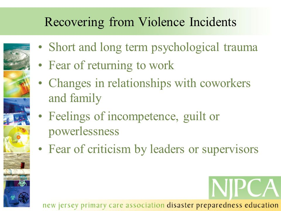 Recovering from Violence Incidents