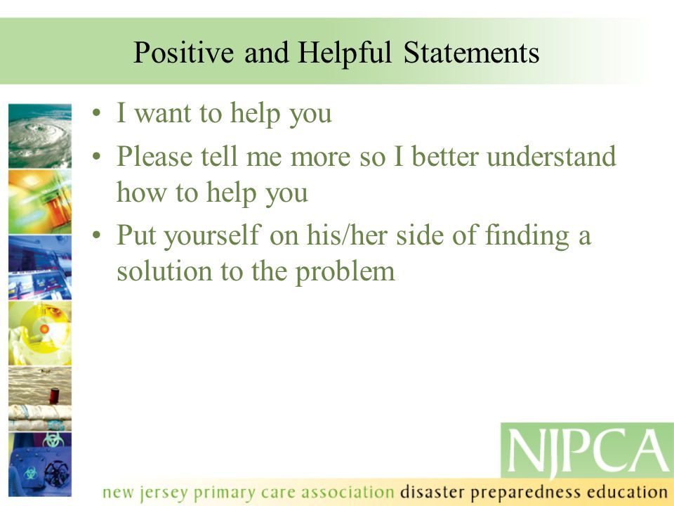 Positive and Helpful Statements