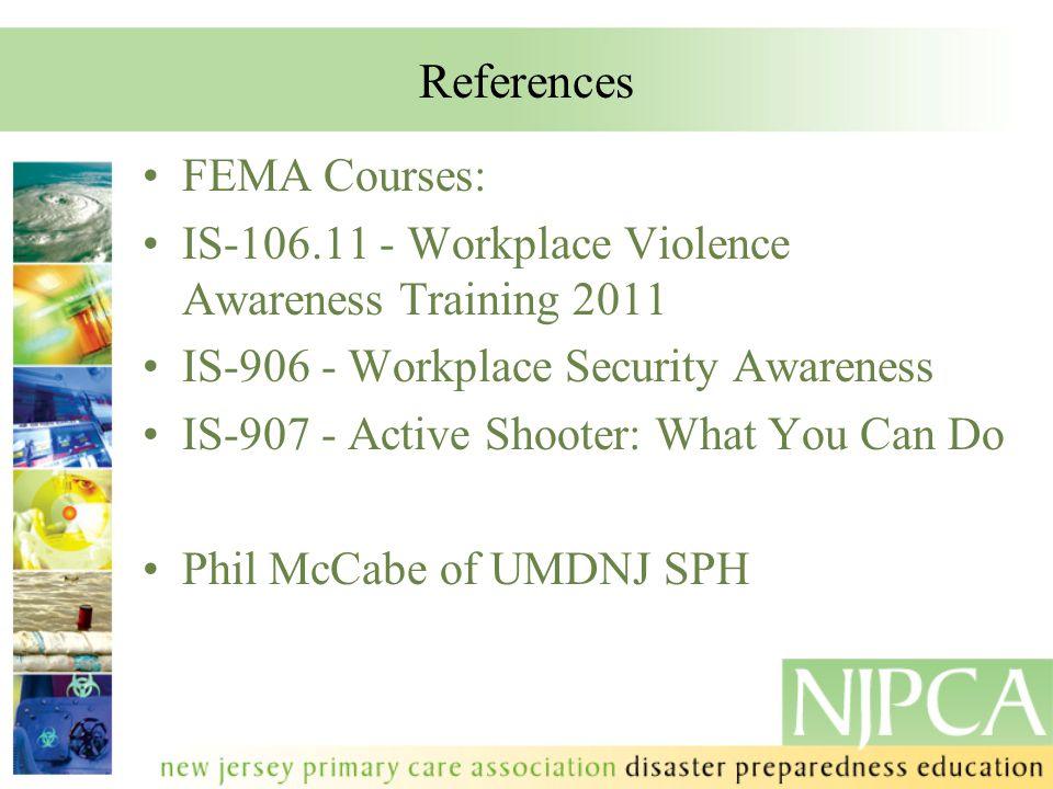 References FEMA Courses: