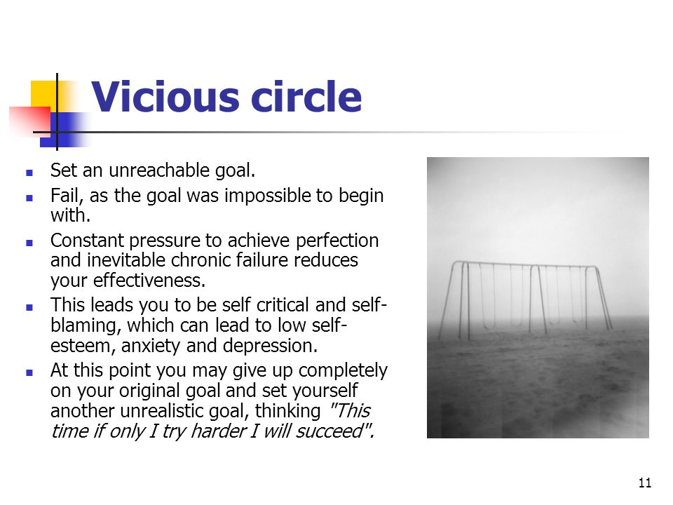 Vicious circle Set an unreachable goal.