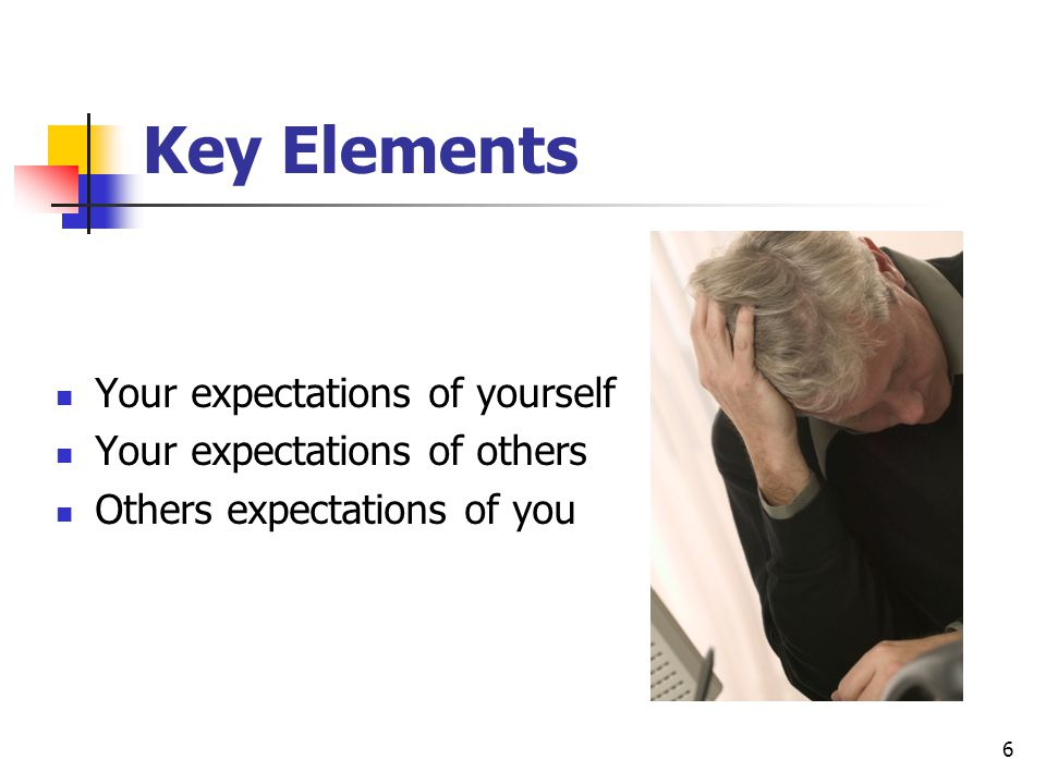 Key Elements Your expectations of yourself Your expectations of others
