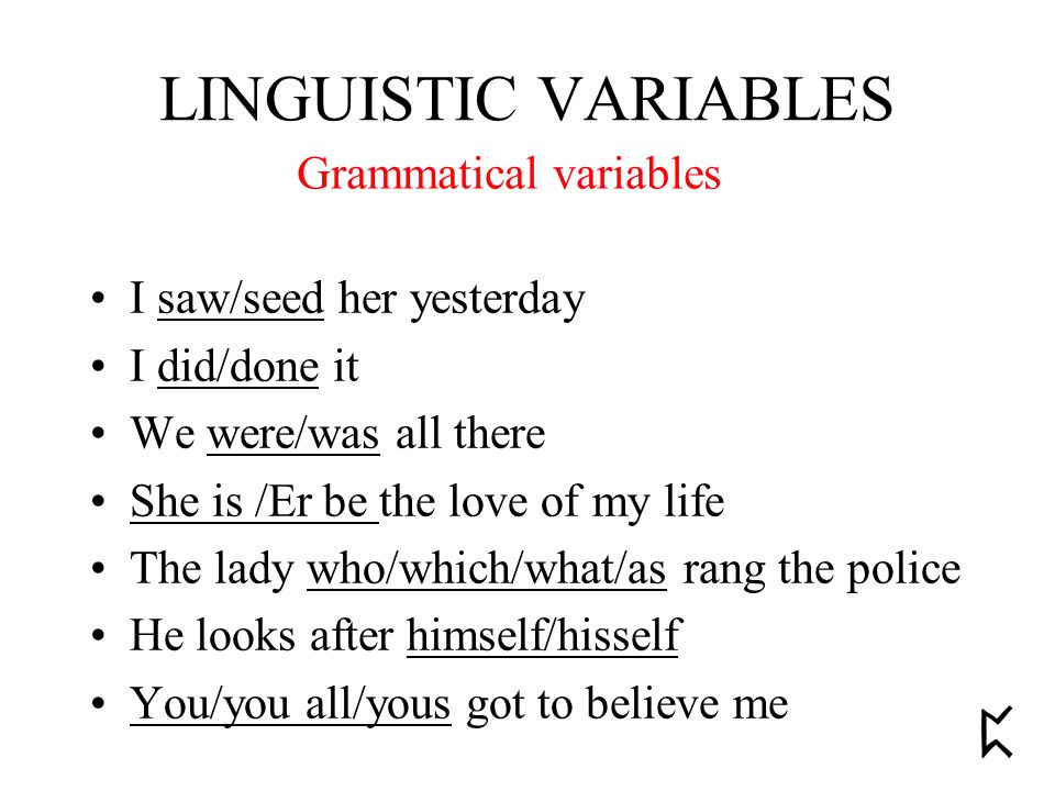 Grammatical variables