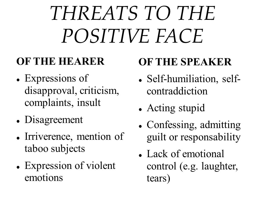 THREATS TO THE POSITIVE FACE