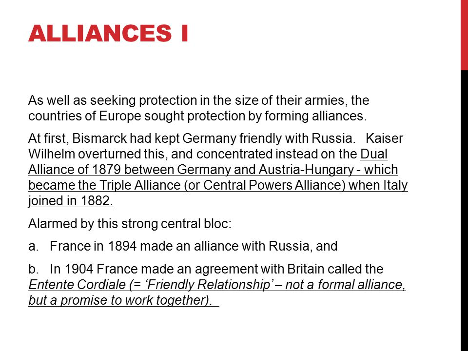 Alliances I