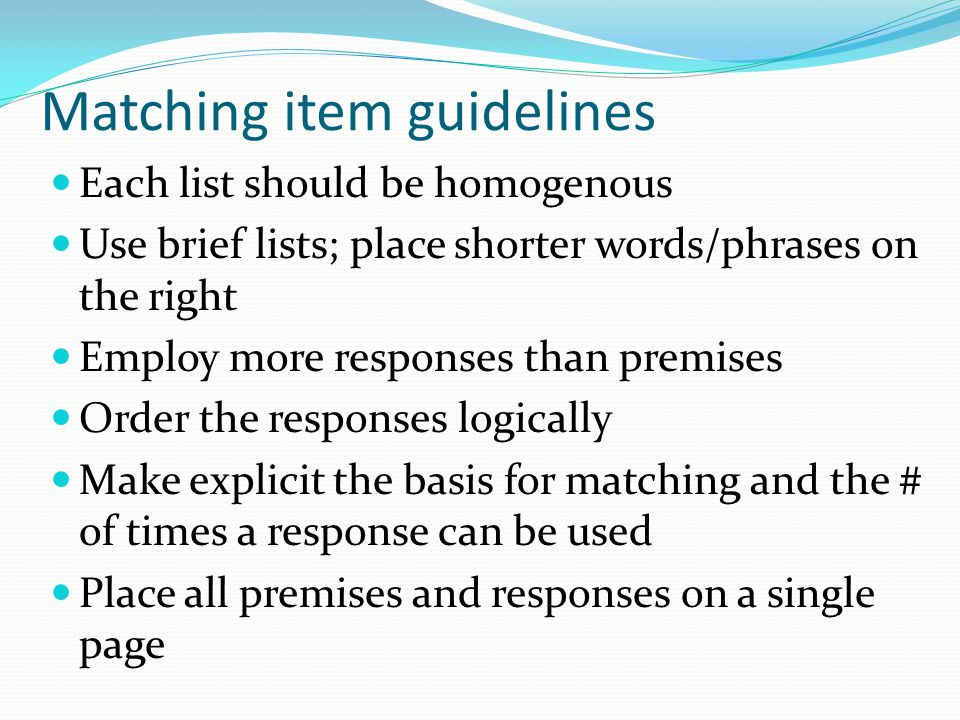 Matching item guidelines