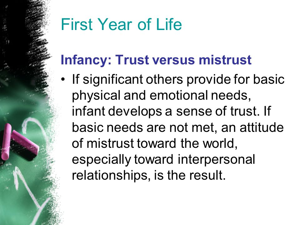 First Year of Life Infancy: Trust versus mistrust