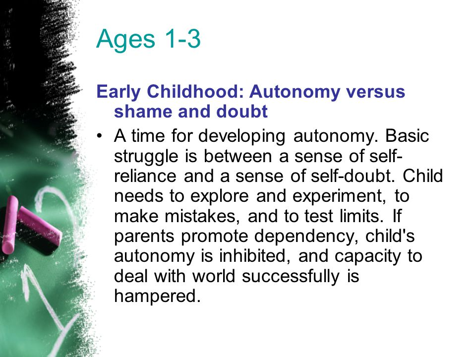 Ages 1-3 Early Childhood: Autonomy versus shame and doubt