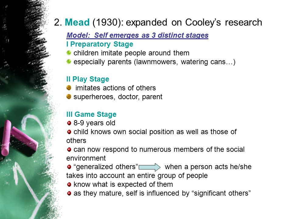 2. Mead (1930): expanded on Cooley's research